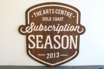 Gold-Coast-Arts-Centre-white-washed-wooden-Laser-etched-sign-Potato-Press