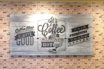 Villiage-Bean-Cafe-Laser-etched-recyled-timber-sign-movie-world