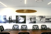 Peppers-Boardroom-Wall-Graphic-and-Laser-Etched-Surfboard