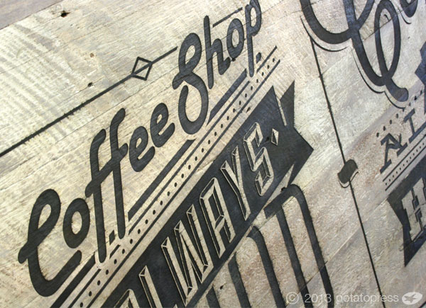 Movie-World-Villiage-Bean-Cafe-Laser-etched-timber-sign-CLOSE-UP