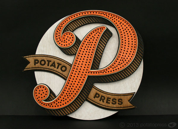 Laser-Cut-Signage- Laser Etched Typography-Potato-Press