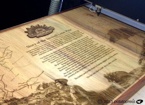 Laser-etched-Plaque-Lone-Pine-Memorial-Inverell-Potato-Press