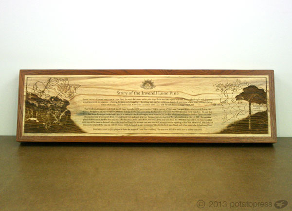 Laser-etched-Timber-Custom-designed-memorial-Plaque-Lone-Pine-Potato-Press