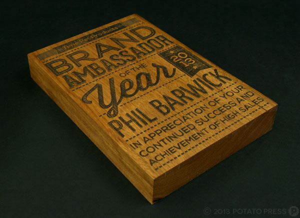 Laser-Etched-Trophy-Recycled-Timber-Spotted-Gum-Time-Pet-Products-Typography-Potato-Press