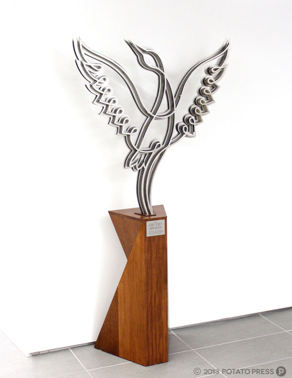 Brolga-Awards-custom-sculpture-award-laser-cut-stainless-steel-custom-timber-plinth-potato-press-laser-cutting-mirrored-stainless-steel-brisbane